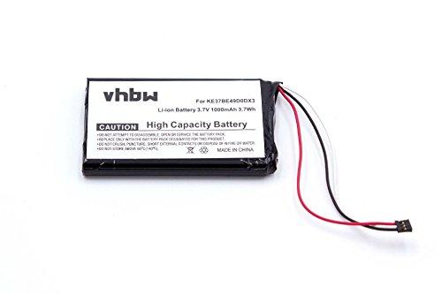 vhbw Li-Ion Akku 1000mAh (3.7V) für Navigation GPS Garmin Nüvi 2595LMT, 2555LMT, 2555LT, 2495LMT, 2475LT, 2455LMT, 2455LT wie 361-00035-03.