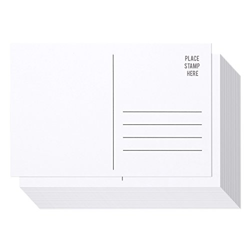 50 Pack Bulk Postcards - Blank Plain White 4x6 Mailable Postcard Set