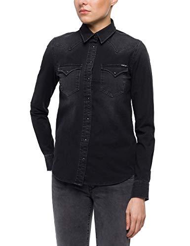 Replay Damen W2962 .000.41B 337 Hemd, Schwarz (Black 98), Small (Herstellergröße: S)