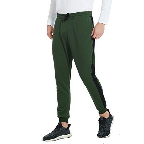 Herren Jogginghose Trainingshose mit Reißverschlusstaschen für Sport Fitness (Dunkelgrün XL)