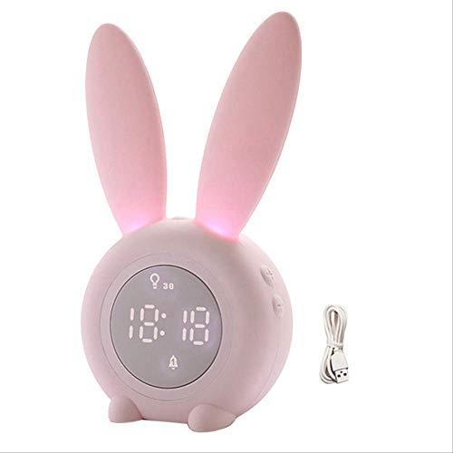 PMWLKJ Cute Rabbit Snooze Aufwachzeit Temperaturanzeige Licht Digitaler Wecker 17,5 cm x 9,4 cm x 7,3 cm Pink