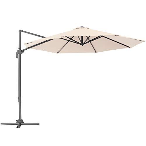 TecTake 800684 Aluminium Garten Sonnenschirm mit Seitenmast und Kurbel, inkl. Ständer, höhenverstellbar, klappbar, UV-Schutz 50+, Ø 300 cm - Diverse Farben – (Beige | Nr. 403133)