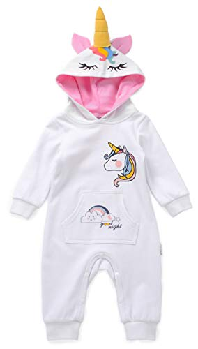 Unicorn Onesie Hooded Romper for Baby Girls or Boys Toddler Newborn Pajamas (12-18 Months) White
