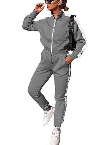 Tomwell Damen Mode Streifen Trainingsanzug Frauen Lange Ärmel Zipper Top + Lange Hose Freizeitanzug Kapuzenpullover Lange Sportswear 2 Stück Set Sport Yoga Outfit Blau L