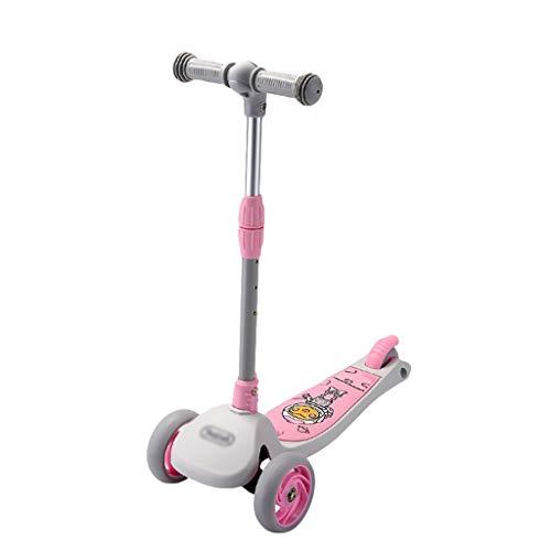 Patinete 3 Ruedas Patadas Scooter con Función de Almacenamiento Altura Ajustable Scooter para Niños de 2 A 5 Años Niñas Que Parpadean Las Ruedas de la PU (Color : Pink)
