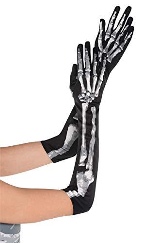 amscan 841439-55 Lot de 2 gants longs en forme d'os Noir
