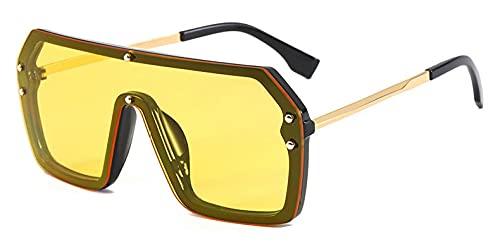Gafas De Sol Hombre Mujeres Ciclismo Gafas De Sol Cuadradas Mujer Lente De Espejo Moda Una Pieza Gafas De Sol Rojo Verde para Hombres-Clear_Yellow