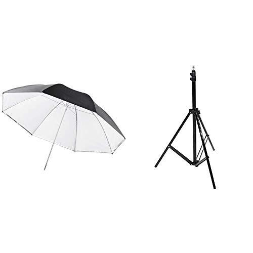 walimex pro 2in1 Reflex- Durchlichtschirm weiß 109 und Amazon Basics - Kamera-Beleuchtungsstativ, Aluminium, 2,13 m