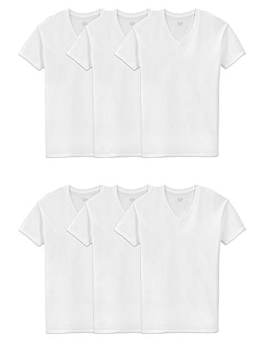 Price comparison product image Fruit of the Loom Men's 6-Pack Stay Tucked V-Neck T-Shirt, White