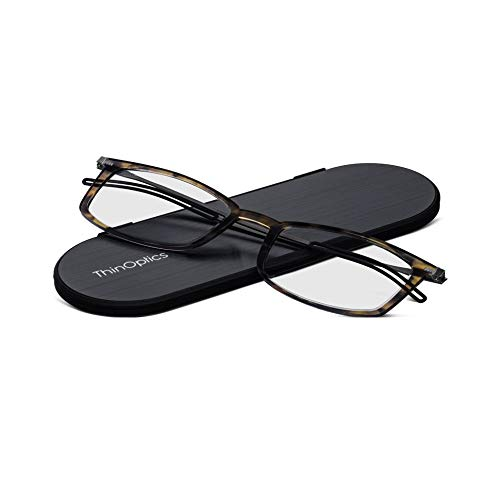 ThinOptics Brooklyn leesbril 2.0 rode frames + Milano magnetisch hoesje 2.0 sterkte schildpad