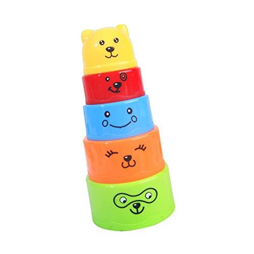 sunronal Vasos apilables Juguete de Oso con Letras y números Juego de construcción, Vasos apilables Juguete Educativo para niños bañeras Juguetes de Aprendizaje Juguetes de baño para niños