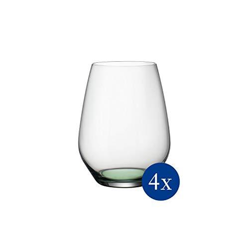 Villeroy & Boch Colourful Life Green - Juego de 4 vasos de agua, 420 ml, cristal, transparente/verde