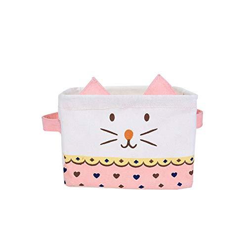 CAheadY wasserdichte Karikatur Katze Baumwolle Leinen Organizer Kosmetik Lagerung Inhaber Korb Leichte Wohnkultur Pink