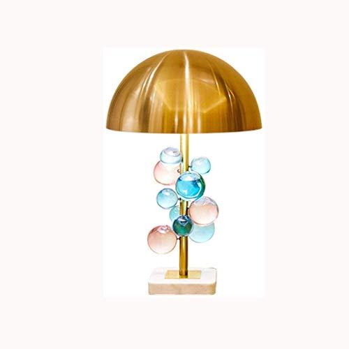 SPNEC Lámpara de Mesa, lámpara de Mesa Dormitorio Creativo Moderno del Cristal del Color de la lámpara de la lámpara de Mesa, Semi Circular Hierro Forjado Pantalla