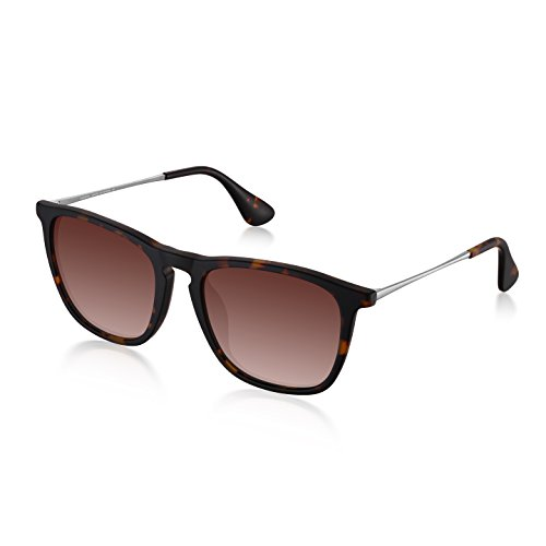 Polarized Square Sunglasses for Men Women by Wenlenie Tortoise Frame/Brown Lens, UV 400 Protection W4187