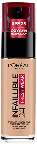 L'Oréal Paris Infaillible 24H Fresh Wear Make-up 145 Rose Beige, hohe Deckkraft, langanhaltend, wasserfest, atmungsaktiv, 30ml