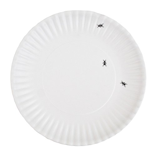 180 Degrees ME0036 What is It Reusable Dinner Plate with Ant Design, 9 Inch Melamine, Set of 4, 9', white, black
