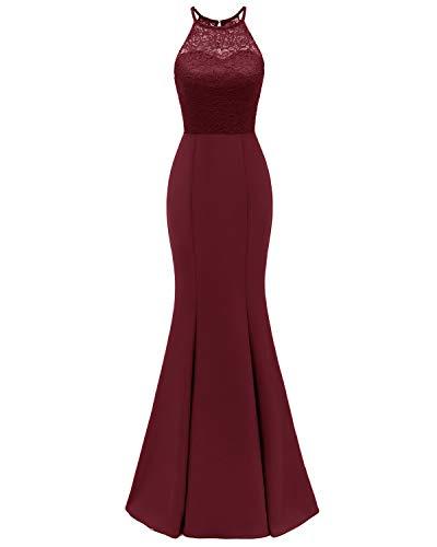 Viloree Elegant Damen Spitze Ballkleid Abendkleid Ärmellos Neckholder Brautjungfernkleider Maxi Kleid Burgundy L