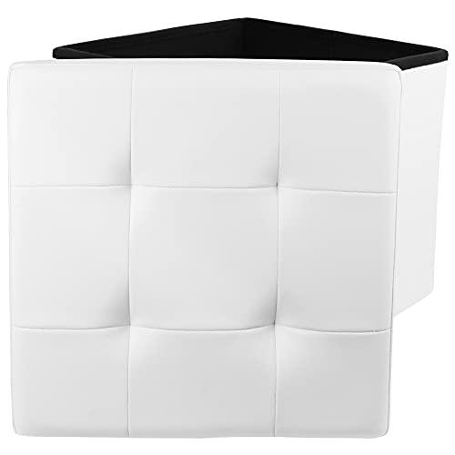 Puff Almacenaje Cuadrado con Tapa Elegante, Piel Sintética Ideal en el salón, el dormitorio y o su home-office, 38 x 38 x 38 cm, Blanco. Mod. DE4014