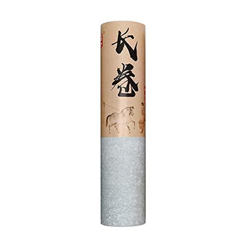 MEGREZ Retro Xuan Papier Rolle Pack Dicken Reis-Sumi-Papier für chinesische Kalligraphie Praxis, halb roher Reis, Xuan-Papier, handgemachtes Batik-Papier, 776 x 9,8 Zoll, Somky Grey