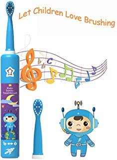 OJV Sonic Rechargeable Musical Kids Electric Toothbrushes for Children, 3 Modes with Memory, 2-Min Timer, ADA Accepted, IPX7 Waterproof, 2 Brush Heads 31000 Strokes for Boys Age 3+ (8620, Blue)