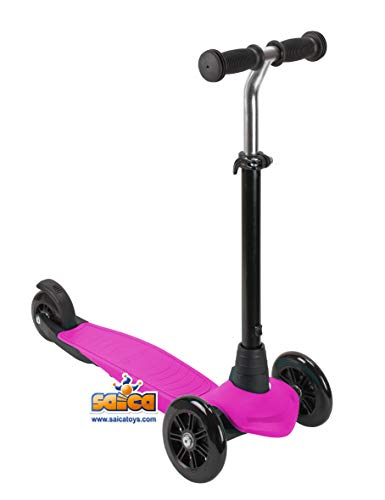 Saica Patinete - Scooter 3 Ruedas Plegable (Fucsia)