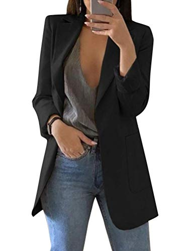 Shownicer Damen Elegant Langarm Blazer Sakko Einfarbig Slim Fit Revers Geschäft Büro Jacke Kurz Mantel Anzüge Bolero mit Tasche A Schwarz L