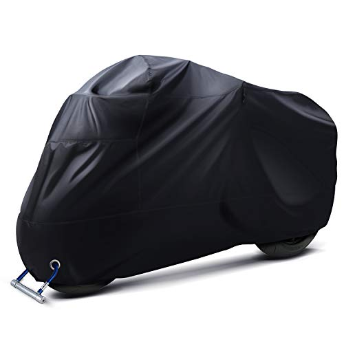 Ohuhu Motorcycle Cover All Season Universal Weather Premium Quality Waterproof Sun Outdoor Protection with Lock-Holes & Storage Bag Fits up to 108