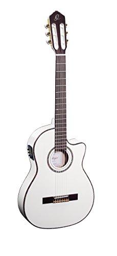 Ortega Guitars RCE145WH concertgitaar in maat 4/4 elektrisch Thinline corpus slanke 48 mm hals wit massief plafond hoogglans afwerking met hoogwaardige Gigbag en riem