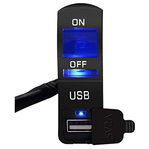 Meipai Adaptador de Corriente del Cargador USB del Manillar de la Motocicleta 12V, con Interruptor de luz LED de Motocicleta, para teléfono móvil, Tableta, GPS