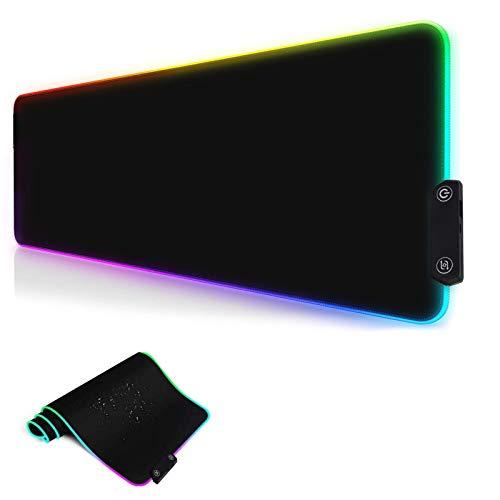 Eyeleaf Alfombrilla para ratón para videojuegos RGB de 800 x 300 mm, con 14 LED de colores y efectos de luz, superficie impermeable y base de goma antideslizante para ordenador, PC y portátil