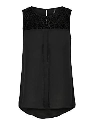 ONLY Damen onlVENICE S/L LACE NOOS WVN Top, Schwarz (Black), 36