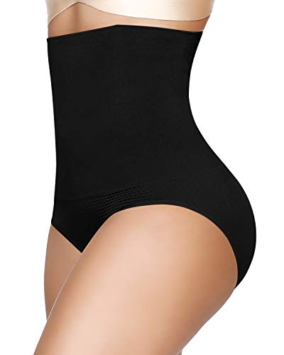 SIMIYA Damen Miederslip, hohe Taille Unterhosen Bauch Weg Miederhose, Nahtlose Taillenslip Formslip Figurformender Miederpants Shapewear, XS-S, Schwarz