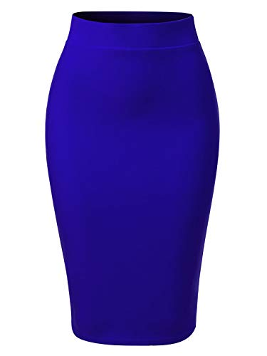 MixMatchy Women's Casual Classic Bodycon Pencil Skirt Royal Blue S