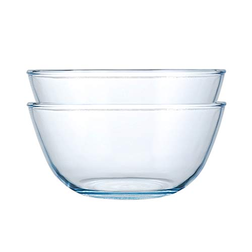 HAOXIANG Kitchen Glass Mixing Bowls, 2-Pieces Household Heat-Resistant Thickened Salad Basin for Food Preparation, Desserts, Dips and Candy Plates Or Nut,5+3L