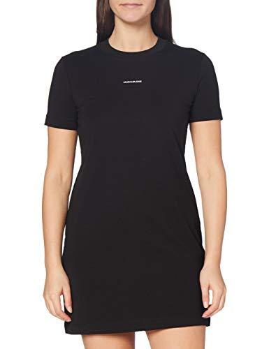 Calvin Klein Jeans Damen Micro Branding T-Shirt Dress Kleid, Ck Schwarz, Small