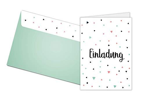 Friendly Fox Einladung Dreiecke - 12 Einladungskarten zum Geburtstag Taufe Konfi Kommunion Hochzeit - Klappkarten blanko mit Umschlag - modernes Design