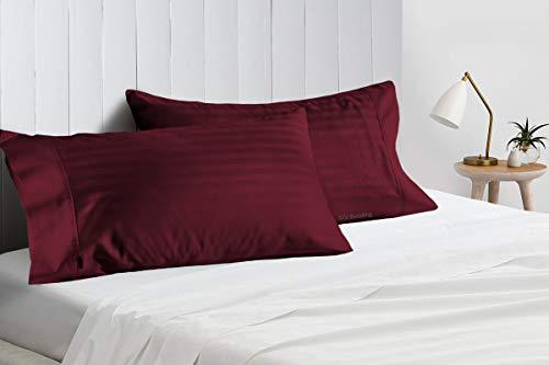 SGI Bedding Funda de almohada de 600 hilos, 100% algodón egipcio, 54 x 142 cm, diseño de rayas, color vino