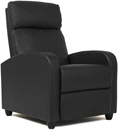 Best FDW Wingback Recliner Chair Leather Single Modern Sofa Home Theater Seating for Living Room (Black)
