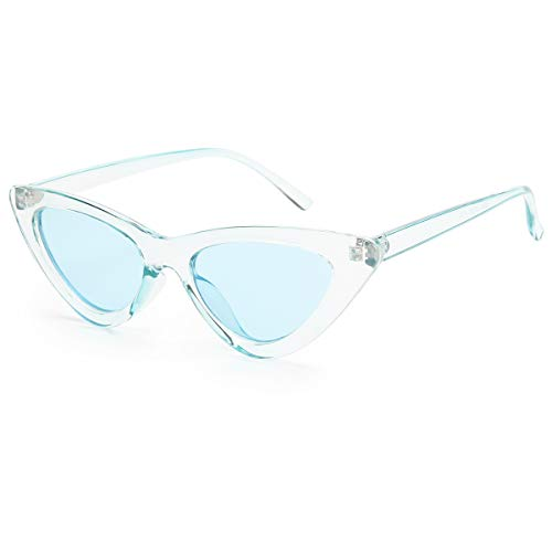 Livhò Retro Vintage Narrow Cat Eye Sunglasses for Women Clout Goggles Plastic Frame (Clear blue)