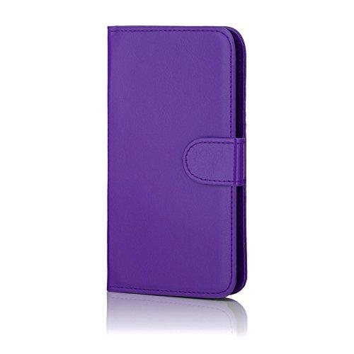 32nd Funda Flip Carcasa de Piel Tipo Billetera para Samsung Galaxy S7 Edge (SM-G935) con Tapa y Cierre Magnético y Tarjetero - Morado