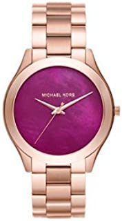Michael Kors MK3550 Slim Runway Pink Dial Rose Gold Ladies Watch