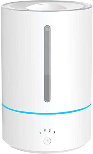 Luftbefeuchter 5L, Homasy Top-Füllung Ultraschall-Luftbefeuchter Aroma Diffuser mit 7 Farben LED, bis zu 60m², 40 Stunden Arbeitszeit, 3 Nebeleinstellung, Timer, Auto-Abschaltung Raumbefeuchter