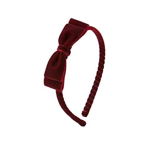 DLVKHKL Versión coreana de los nuevos accesorios para el cabello de los niños niñas terciopelo delgado banda de pelo rojo bebé horquilla diadema sin dientes