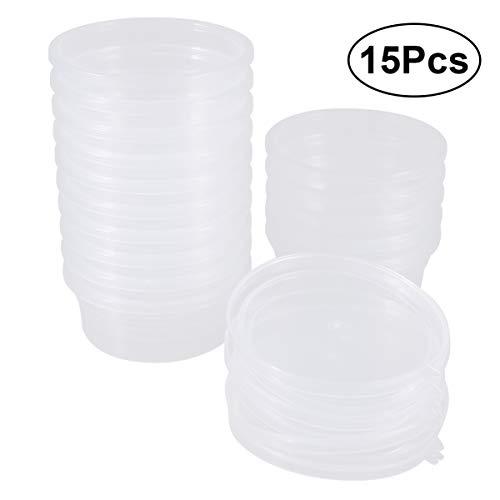 Milisten 15St Slijm Opslag Container Plastic Schuim Bal Opslag Bekers Klei Kraal Opslag Potten Met Deksels Voor Lijm Water Cosmetische Plasticine 20G