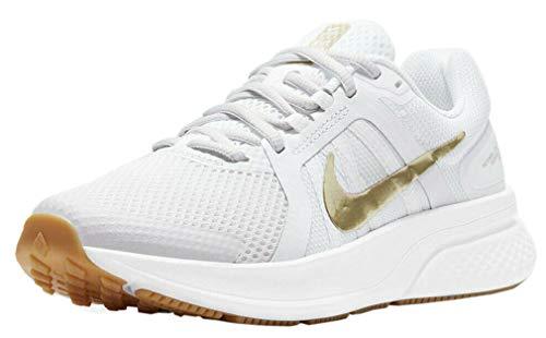 Nike Damen Run Swift 2 Running Shoe, Platinum Tint/Metallic Gold Star-White-Gum Light Brown, 37.5 EU