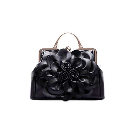 Generic Women Ladies Rose Flower Pattern PU Leather Handbag Shoulder Satchel Bag Tote Purse Messenger Bag for Wedding Party Festival Supplies Black