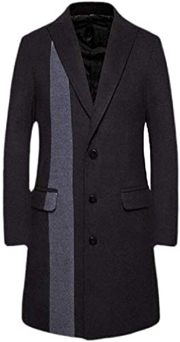 WANGXIAOWEI Mens Trench Coat Wool Blend Breasted Jackets,Black,Small