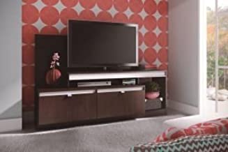 Ditalia Wooden TV Unit with Two Drawers and Two Compartments, Dark Brown - 170 x 107 x 47 cm