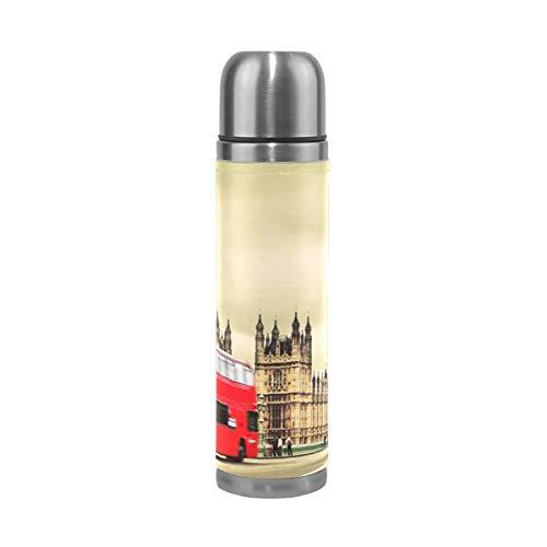 BEUSS Toalla De Autobús Rojo Londres Botella de Agua Frasco de Vacío Aislamiento de Acero Inoxidable de Embalaje de Cuero a Prueba de Fugas Agua Botella(500 ml)
